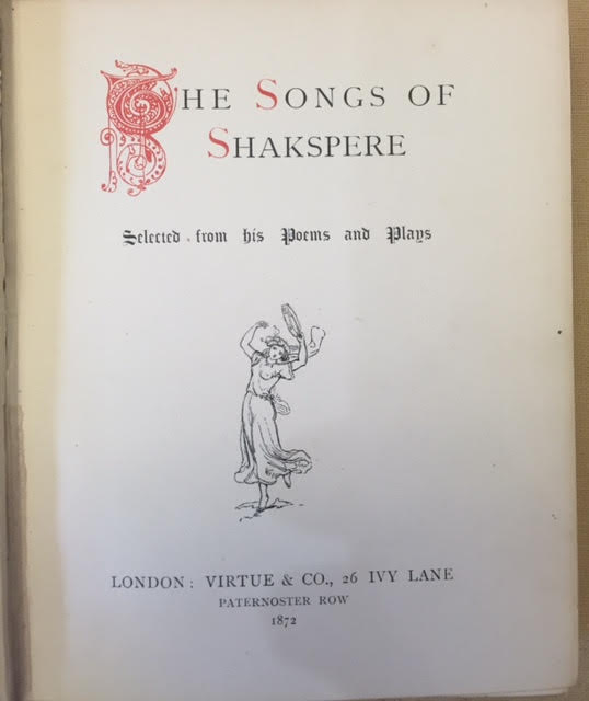 Image for The Songs of Shakspere Selected from His Poems and Plays