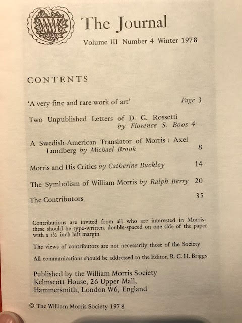 Image for The Journal of the William Morris Society. Volume III / 3, Number 4, Winter 1978