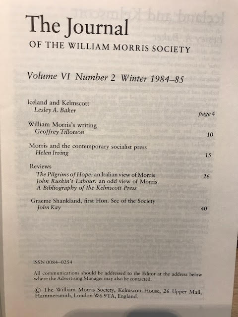 Image for The Journal of the William Morris Society VI / 6, Number 2,  Winter 1984 - 1985