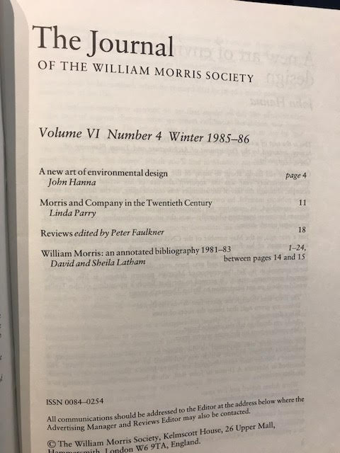 Image for The Journal of the William Morris Society VI / 6, Number 4,  Winter 1985 - 1986