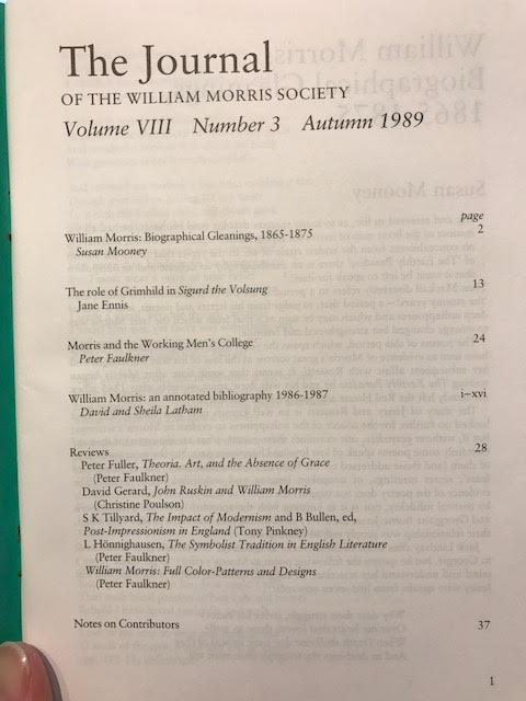 Image for The Journal of the William Morris Society.  VIII / 8, Number 3,  Autumn 1989