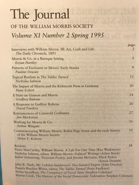 Image for The Journal of the William Morris Society.  XI / 11, Number 2,  Spring 1995