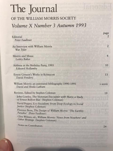 Image for The Journal of the William Morris Society.  X / 10, Number 3, Autumn 1993