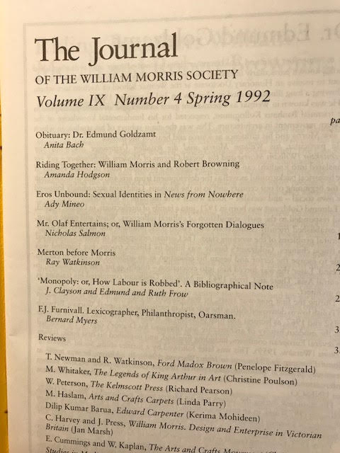 Image for The Journal of the William Morris Society. Volume IThe Journal of the William Morris Society Vol IX/9, Number 4, Spring 1992