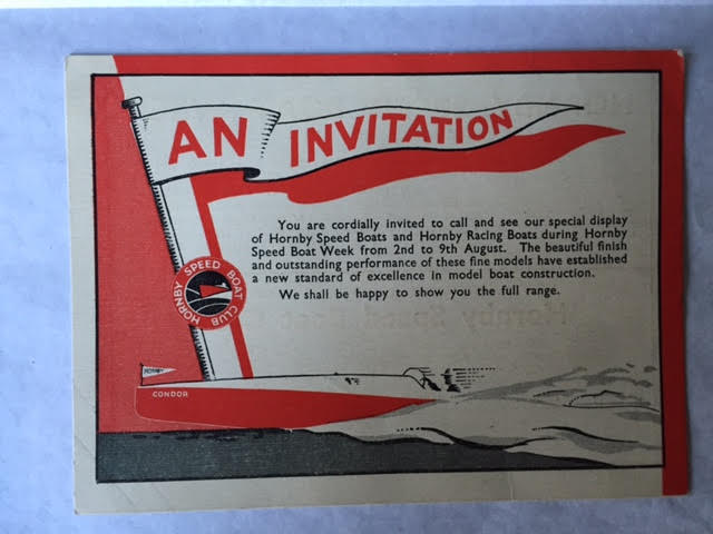 Image for An Invitation: Hornby Speed Boat Week 2nd to 9th August, 1935