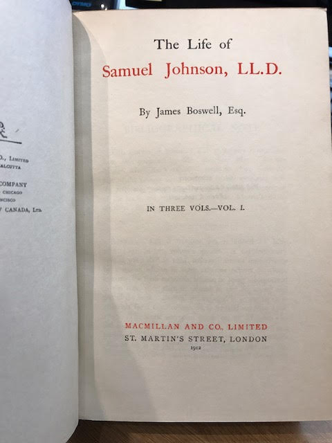 Image for The Life of Samuel Johnson, LL.D. In three volumes
