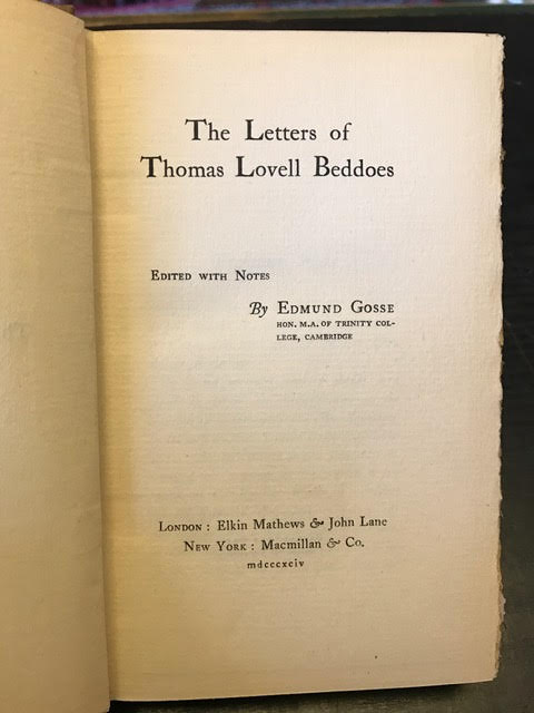 Image for The Letters of Thomas Lovell Beddoes