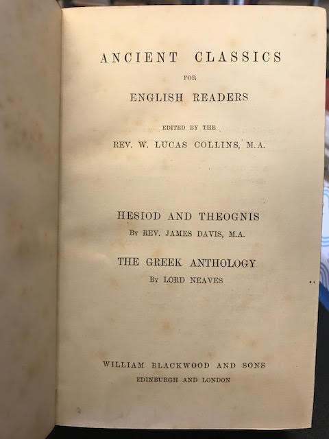 Image for Hesiod and Theognis - The Greek Anthology Ancient Classics For English Readers Series