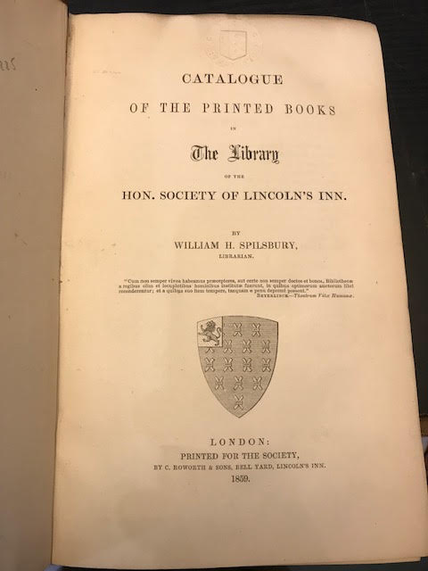 Image for Catalogue of the Printed Books in The Library of the Hon. Society of Lincoln's Inn