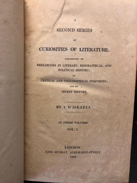Image for Curiosities of Literature [with] A Second Series of Curiosities of Literature. In six volumes