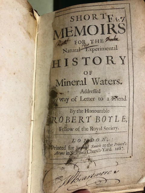 Image for Short Memoirs for the Natural Experimental History of Mineral Waters : Addressed by Way of Letter to a Friend